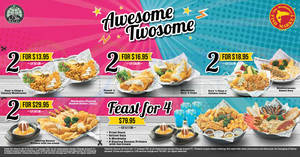Manhattan Fish Market Awesome Twosome e-coupon deals! Valid from 23 Sep – 31 Oct 2017