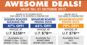 Peach Garden: 47% to 79% off selected items at Metropolis & Chinatown Point! From 20 Sep – 31 Oct 2017