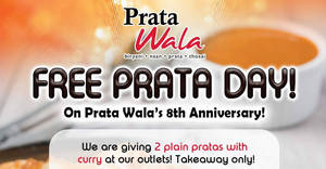 Prata Wala: FREE prata giveaway at all outlets (Nex, Northpoint, etc) on 26 Sep 2017!