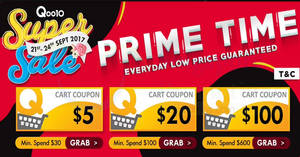 Qoo10: Super Sale is BACK – $5, $20 & $100 cart coupons! Valid from 21 – 24 Sep 2017