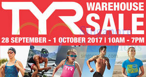 TYR's warehouse sale offers discounts of up to 80% off! From 28 Sep – 1 Oct 2017