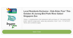 Wildlife Parks: Kids enter FREE* at Jurong Bird Park, River Safari & Zoo! From 1 – 31 Oct 2017