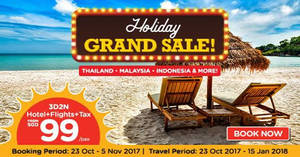 Air Asia Go: Grab a 3D2N vacation fr $99/pax (Hotel + Flights + Taxes)! Book from 23 Oct – 5 Nov 2017