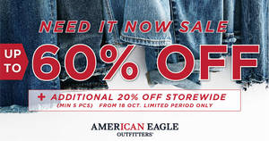 American Eagle Outfitters' Sale: Up to 60% Off + Add 20% Off Storewide (Min 5pcs)! From 18 – 29 Oct 2017