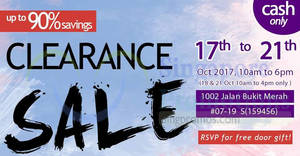 Branded up to 90% clearance sale from 17 – 21 Oct 2017