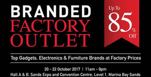 Branded Factory Outlet by Megatex up to 85% off fair! From 20 – 22 Oct 2017