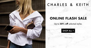 Charles & Keith FLASH sale – up to 50% OFF selected styles! From 16 – 20 Oct 2017