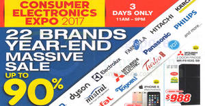 Consumer Electronics Expo (Oct 2017) – Up to 90% OFF! From 20 – 22 Oct 2017