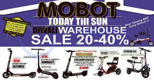 Mobot up to 40% OFF electric scooter warehouse sale! From 17 – 22 Oct 2017