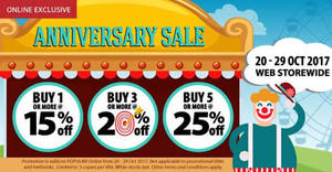 POPULAR 15% to 25% OFF Online Anniversary Sale! From 20 – 29 Oct 2017