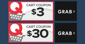 Qoo10: Grab free $3 and $30 cart coupons! From 21 – 22 Oct 2017