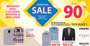 Ritz Hutchinson up to 90% OFF menswear, children apparel & bedlinen warehouse sale! From 20 – 31 Oct 2017