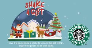 Starbucks: Win prizes such as 20% OFF merchandise & more with 3 clicks! From 30 Oct 2017