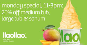 llaollao: 20% OFF sanums when you purchase llaomango on Mondays, 11am – 3pm from 23 Oct 2017