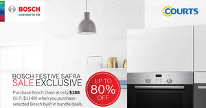 Bosch up to 80% OFF festive sale at SAFRA Toa Payoh! From 18 – 19 Nov 2017