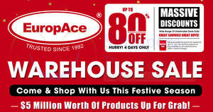 Europace up to 80% OFF warehouse sale – over $5 million worth of products! From 30 Nov – 3 Dec 2017