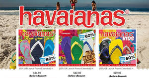 Havaianas: 60% OFF storewide at their new official eStore at Qoo10! From 15 Nov 2017