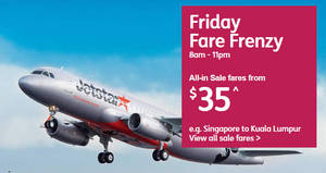 Jetstar: Fr $35 all-in Friday Fare Frenzy fares to over 15 destinations! Ends 24 Nov 2017, 11pm