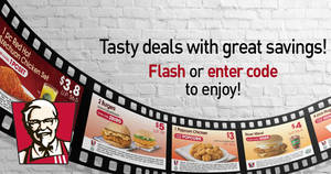 KFC: NEW discount dine-in & delivery e-coupons – save up to $13! Valid from 16 Nov – 15 Dec 2017