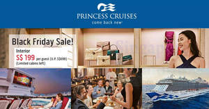 Princess Cruises: $199 (U.P. $698) per guest Black Friday sale! From 21 – 24 Nov 2017