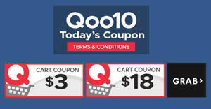 Qoo10: Grab free $3 and $18 cart coupons! From 18 – 19 Nov 2017