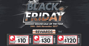 Qoo10: Black Friday sale featuring $10, $30 & $120 cart coupons! Valid from 24 – 26 Nov 2017