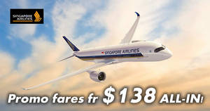 Singapore Airlines: Promo fares fr $138 all-in return to over 50 destinations! Book by 31 Dec 2017