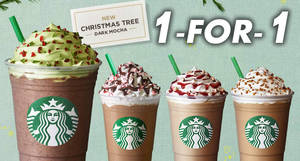 Starbucks: 1-FOR-1 any Christmas beverage incl new Christmas Tree Dark Mocha! From 27 – 30 Nov 2017, 3 – 7pm!