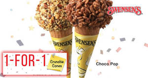 Swensen's: 1-FOR-1 Crunchie Cones (Classic Vanilla, Choco Pop) at ALL outlets! From 20 – 24 Nov 2017