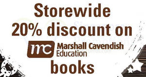 Times Bookstores: 20% OFF all Marshall Cavendish Education books at Waterway Point! From 18 Nov – 31 Dec 2017