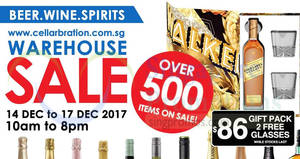 Cellarbration warehouse sale – over 500 items on sale! From 14 – 17 Dec 2017