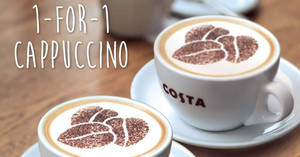 Costa Coffee: 1-FOR-1 cappuccino at 6 outlets! From 13 – 26 Dec 2017
