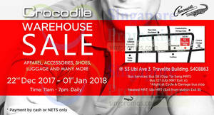 Crocodile: Annual warehouse sale – apparel, shoes, luggage & more! From 22 Dec 2017 – 1 Jan 2018