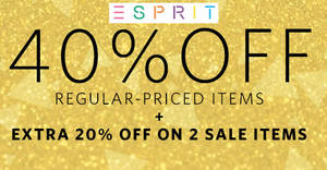 Esprit FLASH sale: 40% OFF ALL regular-priced items, 20% OFF sale items & FREE shipping! Ends 13 Dec 2017