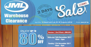 JML up to 80% OFF warehouse clearance sale! From 16 – 17 Dec 2017