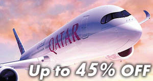 Qatar Airways: Up to 45% OFF flights to over 150 places promo fares! Book by 31 Dec 2017