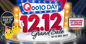 Qoo10: 12.12 Grand Sale featuring $12, $30 & $120 cart coupons! Valid from 10 – 12 Dec 2017