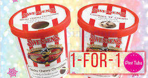Swensen's: 1-FOR-1 pint tubs – Sticky Chewy Chocolate & more – at ALL outlets! Valid from 11 – 15 Dec 2017