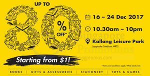 Times Bookstores: Up to 80% OFF Book Sale at Kallang Leisure Park! From 16 – 24 Dec 2017
