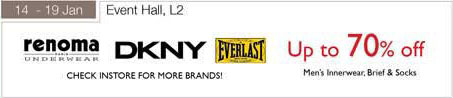 14 – 19 January Up To 70 Percent Off Renoma Dkny Everlast Men