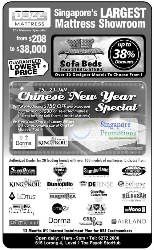Dozz mattress sale 15 21 january 2011 for Beds january sales
