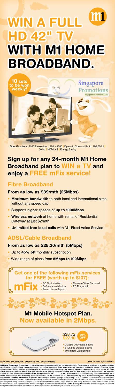 M1 Home Broadband, Fibre, ADSL, Cable