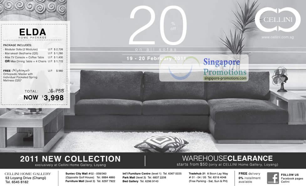 19 Feb Cellini Elda Home Package, Warehouse Clearance