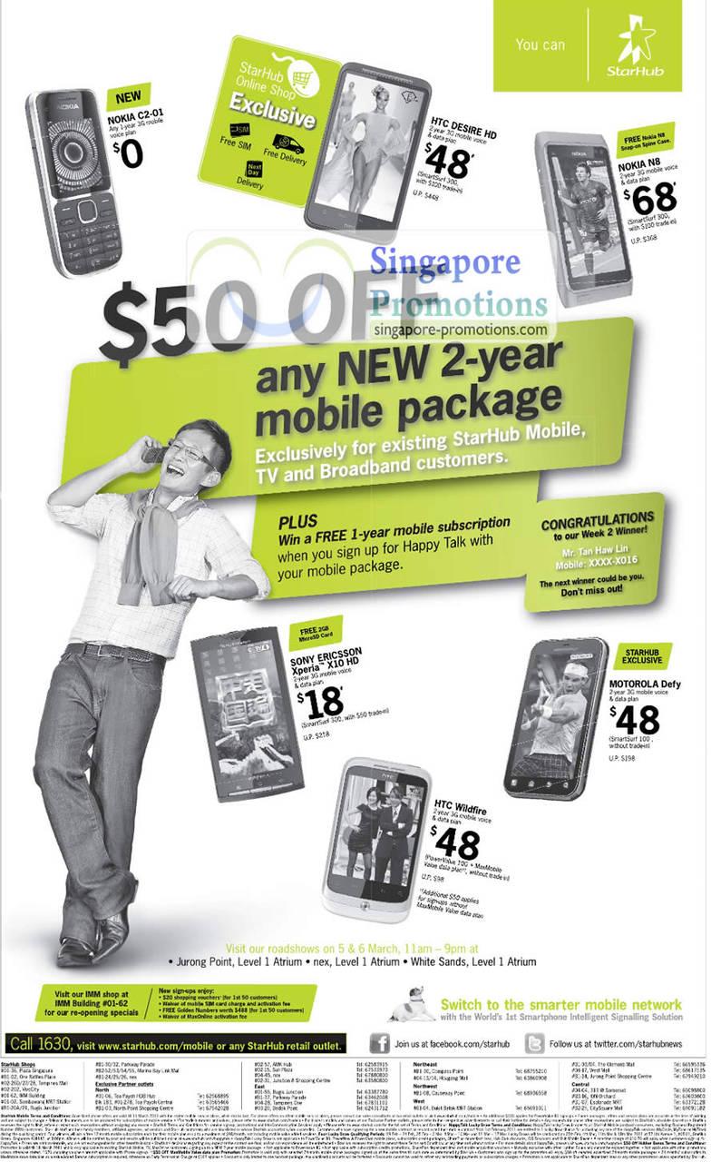 Nokia C2-01, HTC Desire HD, Nokia N8, SE Xperia X10 HD, HTC Wildfire, Motorola Defy
