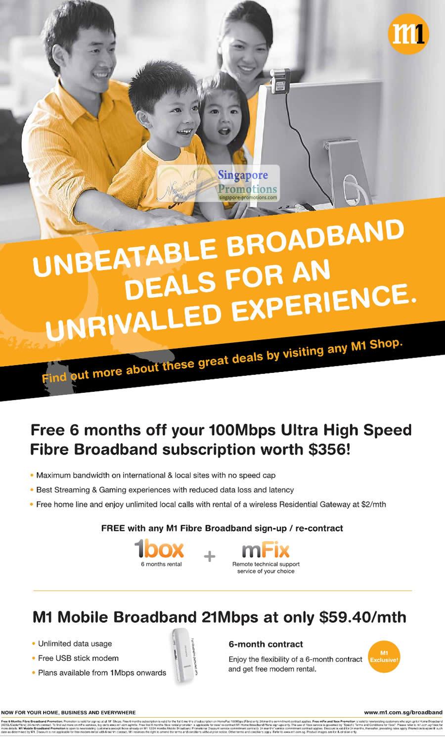 100Mbps Fibre Broadband, Free 6 Months, Mobile Broadband