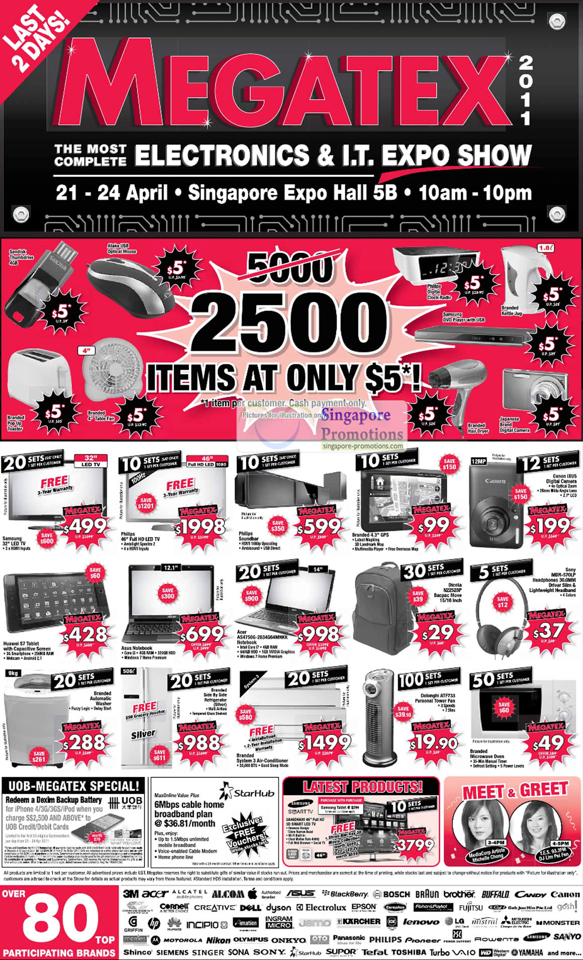 23 Apr, 2500 Items Five Dollar Limited Deals, Huawei S7, Dicota N22528P, Sony MDR-570LP, Delonghi ATF733, GPS, LED TV
