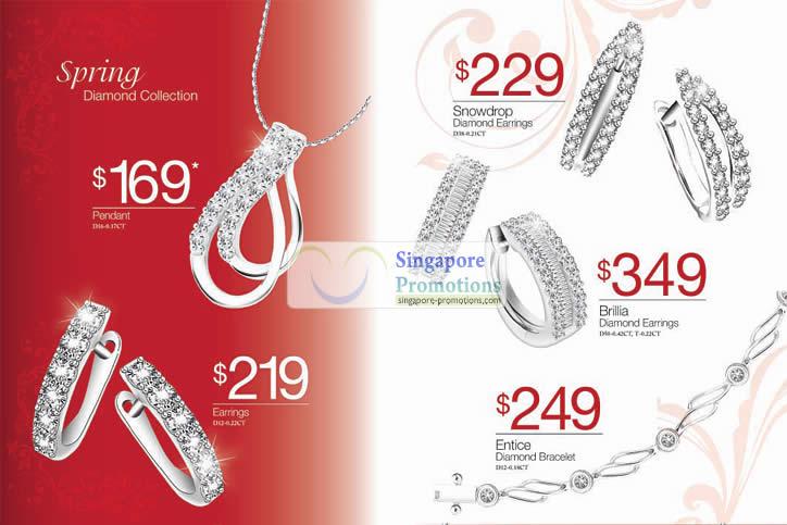 Spring Diamond Collection, Pendant, Earrings, Entice Bracelet, Brillian, Snowdrop