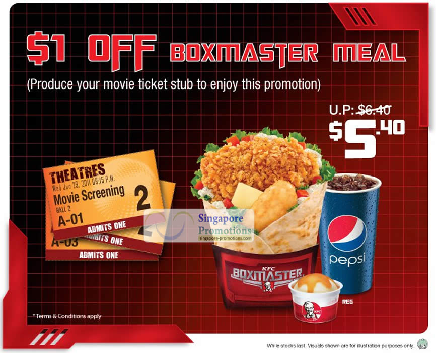 5 Jul Get One Dollar Off KFC Boxmaster Meal With Movie Ticket