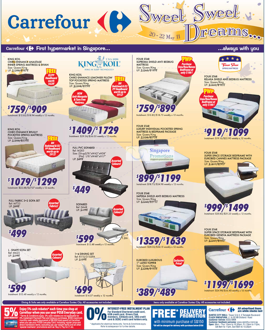 Carrefour 20 May 2011 Mattress Sofa Beds Dining Sets Voucher Carefur