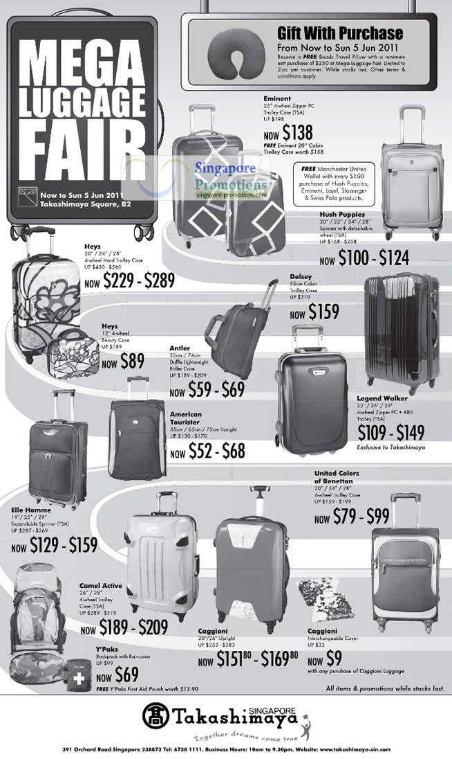 Luggage Fair, Eminent, Hush Puppies, Heys, Antler ...
